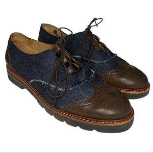 Stuart Weitzman Denim Leather Oxfords Size 7.5